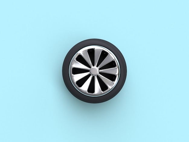 Minimale blauwe plat lag scène auto wiel 3d-rendering abstracte object