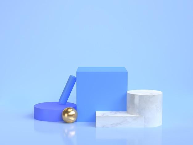 Minimale blauwe scène geometrische vorm groep instellen 3d-rendering