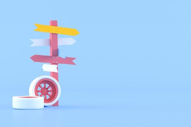 Minimale conceptuele idee van wegwijzer en auto wiel op blauwe achtergrond. 3d-weergave.