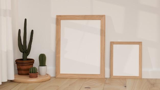 Minimale decoratie ontwerp lege frames op de houten vloer met wit behang 3d illustratie