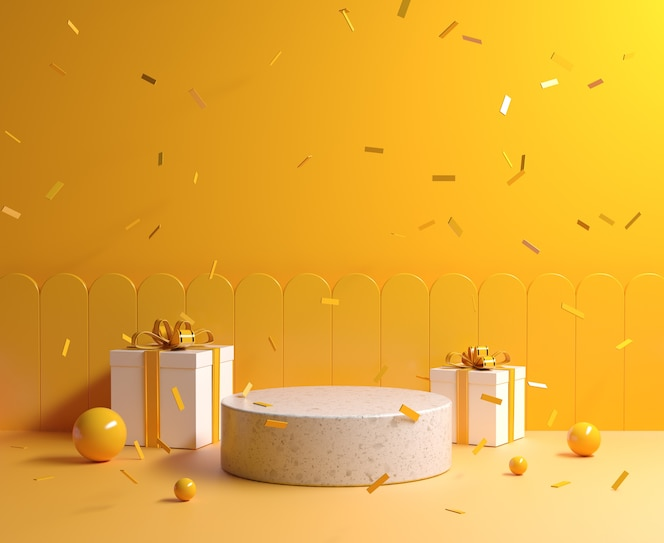 minimale gele concept mockup stenen podium met geschenkdoos en lint vallende achtergrond 3d render