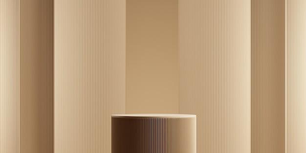 Minimale geometrische podium bruine achtergrond voor productpresentatie 3d-rendering illustratie