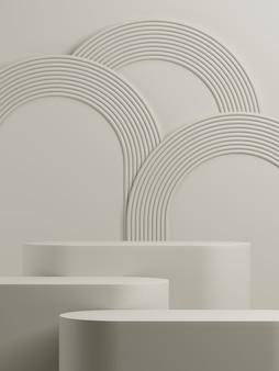 Minimale geometrische podium witte achtergrond voor productpresentatie 3d-rendering illustratie