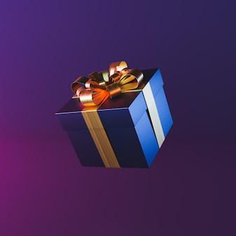 Minimale geschenkdoos met neonlicht