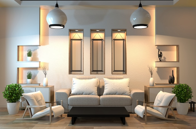 Minimale interieurkamer zen-stijl met bank, fauteuil, lage tafel
