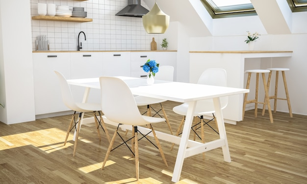 Minimale keuken op zolder