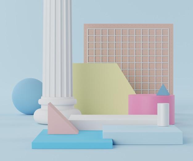 Minimale lege podiumscène renderen met geometrische vormen voor productpresentatie
