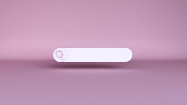 Minimale lege zoekbalk op roze. 3d-weergave