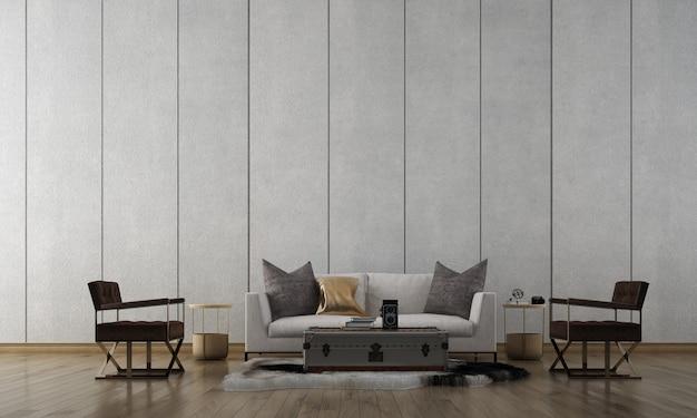 Minimale loft woonkamer interieur, witte bank op lege betonnen muur, scandinavische stijl, 3d render