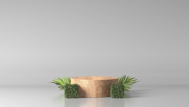 Minimale luxe bruin fijn houten cilinderpodium en groene bladeren op witte achtergrond