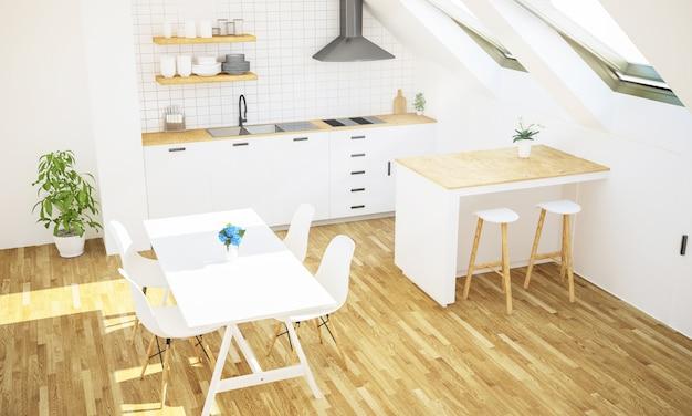 Minimale luxe keuken op zolder bovenaanzicht