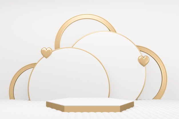 Minimale luxe wit marmeren zeshoek podium wit. 3d-weergave