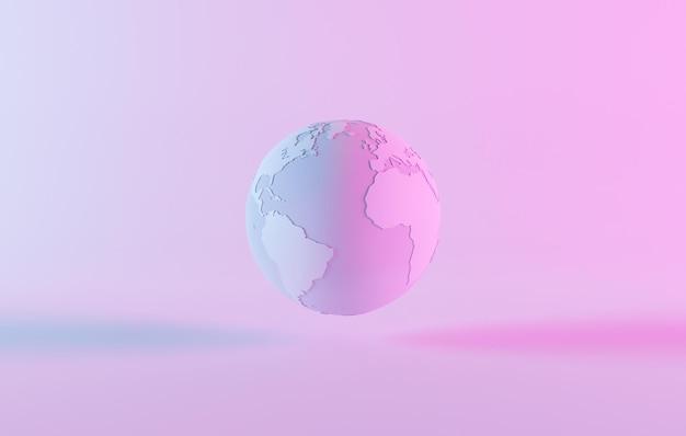 Minimale planeet aarde met neonlicht