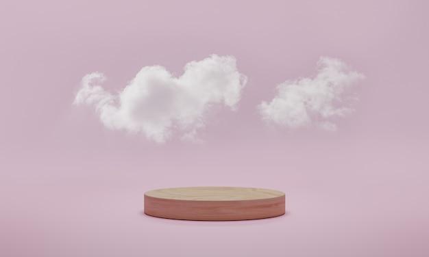 Minimale podiumscène met wolk op roze pastel