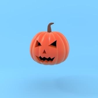 Minimale pompoenkop in pastelkleur halloween-concept gesneden gezicht lachend