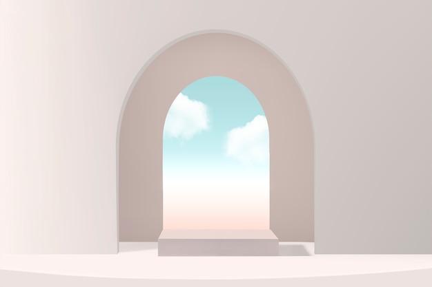 Minimale productachtergrond met raam en lucht