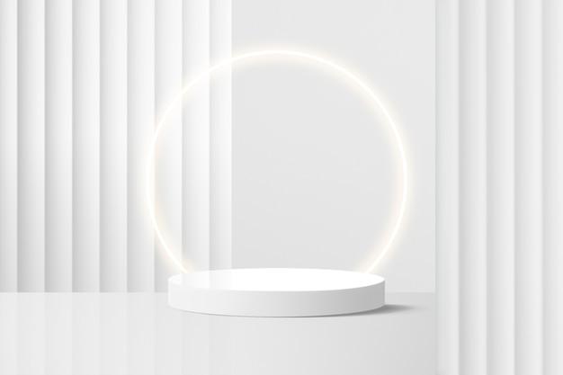 Minimale productachtergrond, neonlicht, witte muur