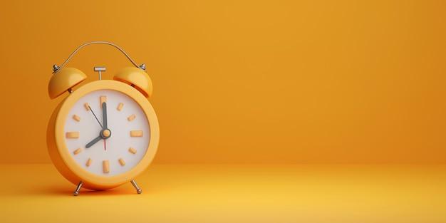 Minimale realistische wekker op gele achtergrond 3d illustratie