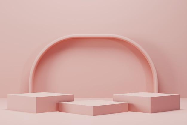 Minimale roze box podium met gebogen paal achtergrond