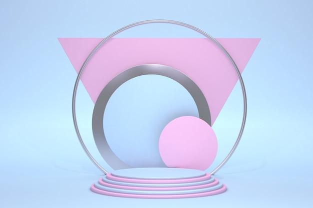 Minimale roze en blauwe scène met podium geïsoleerd op pastel achtergrond geometrische vormen minimale 3d-weergave scène met geometrische vormen en gestructureerde achtergrond voor cosmetisch product 3d render