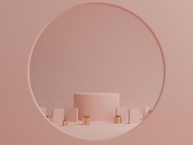 Minimale roze pastel achtergrond met podium, geschenkdoos en boodschappentas voor product. 3d-weergave.