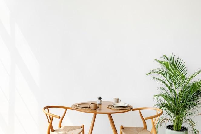 Minimale scandinavische stijl van ontbijthoek