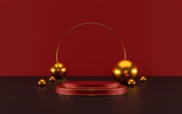 Minimale scène met geometrische vormen. cilinder rode podiumdisplay en gouden bal
