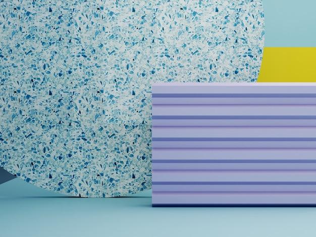 Minimale scène met geometrische vormen in okerkleuren. primitieve vormen, terrazzo cilinder en rondingen. violet, geel, blauw voorjaar scène. minimale achtergrond om producten te tonen. kleurrijk. 3d render.