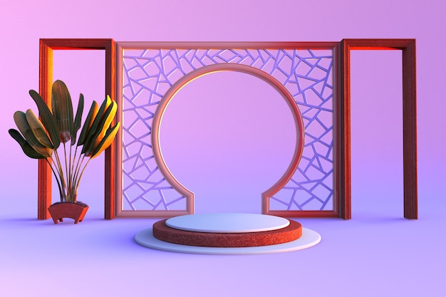 Minimale scène met geometrische vormen primitieve vormen ronde boog roze en violette scène met palm
