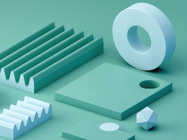 Minimale scène met podia en abstracte achtergrond. geometrische vorm. groene en blauwe kleurenscène.