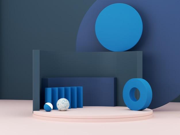 Minimale scène met podium en abstracte achtergrond. geometrische vorm. de klassieke blauwe scène van de winterkleuren. minimale 3d-weergave. scène met geometrische vormen en gestructureerde achtergrond. 3d render.