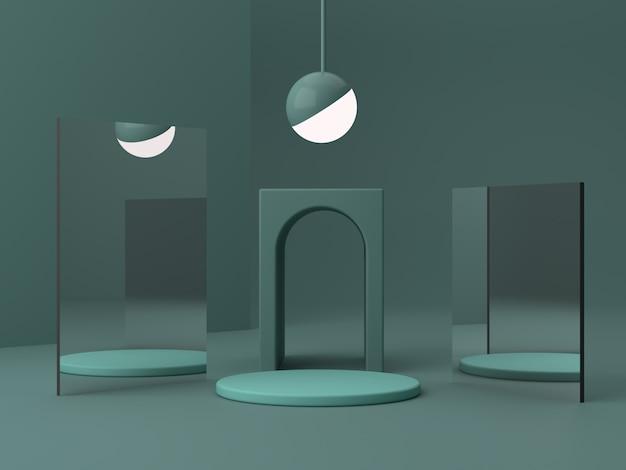 Minimale scène met podium en abstracte achtergrond. geometrische vorm. groene kleurenscène.
