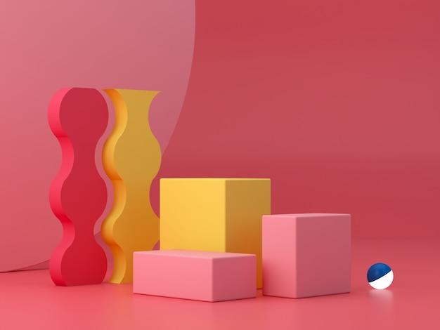 Minimale scène met podium en abstracte achtergrond. geometrische vorm. roze, gele en blauwe, kleurrijke scène. minimale 3d-weergave. scène met geometrische vormen en gestructureerde achtergrond. 3d render.