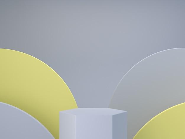 Minimale scène met podium en abstracte achtergrond geometrische vormen kleur van het jaar 2021 minimale 3d render scène met geometrische vormen en gestructureerde achtergrond voor cosmetisch product 3d render