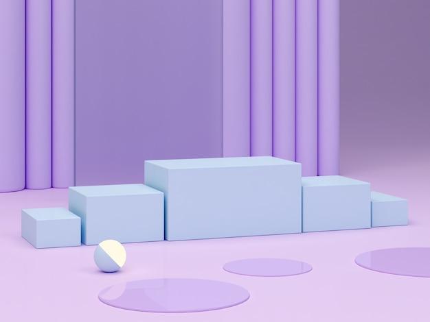Minimale scène met podium en abstracte achtergrond geometrische vormen pastelkleuren scene