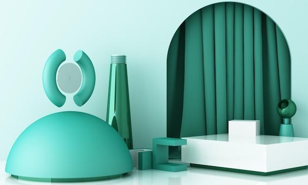 Minimale scène met podium en abstracte achtergrond. pastel groen geel en wit tafereel. trendy voor banners op sociale media, promotie, cosmetische productshow. geometrische vormen interieur 3d render