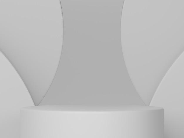 Minimale scène met podium en abstracte achtergrond ronde vormen. gebroken witte kleurenscène. 3d-weergave.
