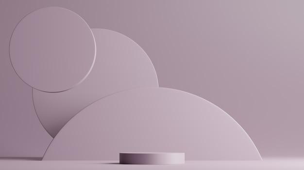 Minimale scène met podium en abstracte achtergrond ronde vormen. paarse kleurenscène. 3d-weergave.