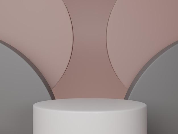 Minimale scène met podium en abstracte achtergrond ronde vormen. roze, grijze en witte kleurenscène. 3d-weergave.