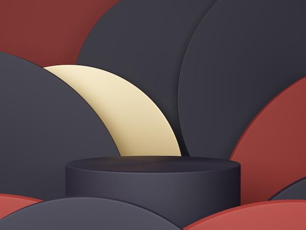 Minimale scène met podium en abstracte achtergrond ronde vormen. zwart, rood en goud kleurenscène. 3d-weergave.