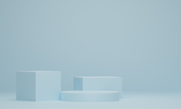 Minimale scène met podium. geometrische vorm. abstracte scène met geometrische vormen. 3d-rendering.