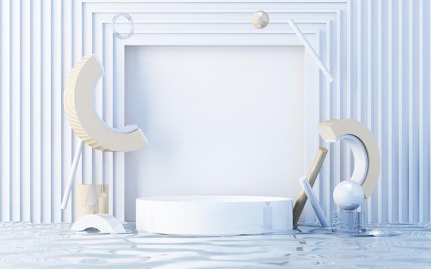 Minimale scène met podium. goud en wit tafereel. trendy voor banners op sociale media, promotie, show van cosmetische producten. geometrische vormen op nat water 3d render