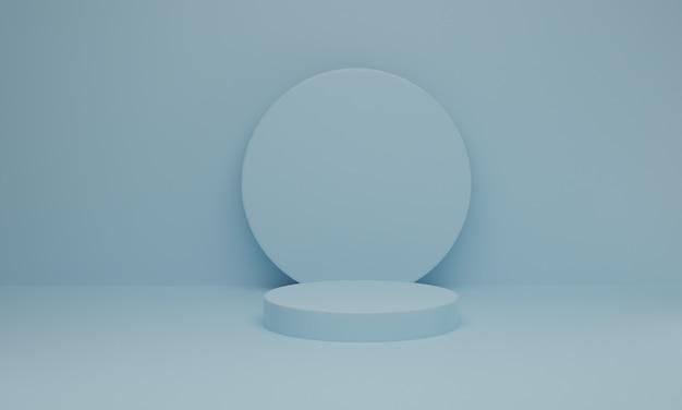 Minimale scène met podium op blauwe pastel
