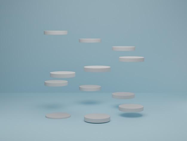 Minimale scène met wit cilinderpodium op blauwe pastelkleur