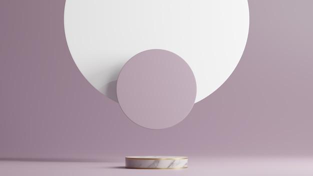 Minimale scène met wit marmeren podium en abstracte ronde vormen als achtergrond