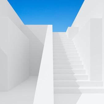 Minimale scène van architectuurruimte met trap.