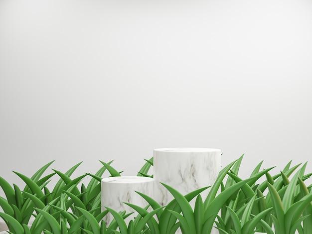 Minimale scène van cilinder marmeren podium op witte achtergrond met groene plant voor productpresentatie, mock-up en weergave van cosmetisch of podiumvoetstukconcept door 3d rendertechniek.