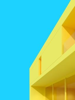Minimale scène van gele moderne architectuur.