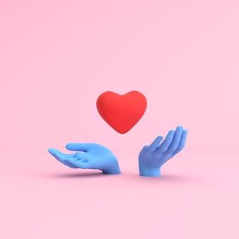 Minimale scène van handen met drijvend hart, valentine-concept.