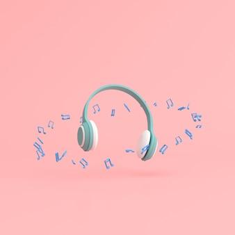 Minimale scène van muzieknota rond de hoofdtelefoon op achtergrond.